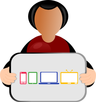 Person-holding-sign-multi-screen